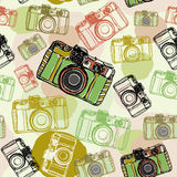 Vintage film camera, , seamless pattern pastel colors Stock Image