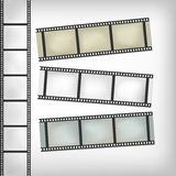 Vintage film or camera strip on horizontal and vertical position.  Royalty Free Stock Images