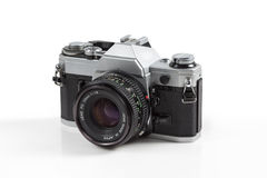 1950 Vintage film camera. On white background royalty free stock image