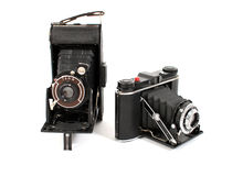 Vintage film cameras. Two vintage film cameras side by side Royalty Free Stock Photography