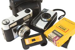 Vintage film cameras stock photography
