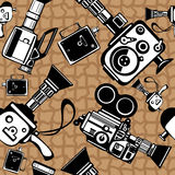 Vintage film cameras  seamless Stock Photography