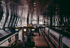 Vintage film look applied over Frankfurt Airport Train station Stock Photo
