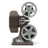 Vintage film movie projector  on white. 3d Stock Photo