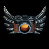 Vintage film photo camera with metal Wings on black background. 3d render Stock Photos