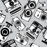Vintage film photo cameras  seamless Royalty Free Stock Images