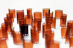 Vintage Film and Photo Strip Parts. Old, vintage, retro film and photo support for analogue recording devices stock images