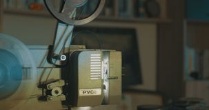 Vintage Film Projection. View of a retro home film projection stock video footage