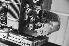 Vintage film projector, close-up photo Royalty Free Stock Photography