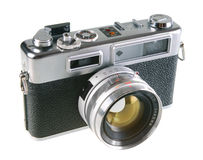 Vintage film rangefinder camera. Isolated on white background Stock Images
