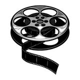 Vintage film reel concept. With filmstrip isolated vector illustration Stock Photos