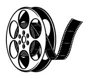 Vintage film reel concept. In monochrome style isolated vector illustration Stock Image