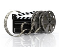 Vintage film reels and film state Royalty Free Stock Images