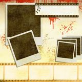 Vintage film strip background with instant photos Royalty Free Stock Image