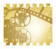 Vintage film strip background and old projector Stock Photo