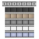 Vintage film strip. Film strip. Movie reel frames, vintage 35mm camera celluloid filmstrip vector illustration Stock Photos
