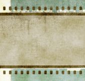 Vintage film strip frame in green and sepia tones colors. Retro design element Stock Photos