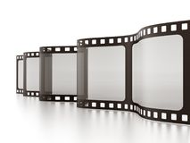 Vintage film strip isolated on white background. 3D illustration.  Royalty Free Stock Photos