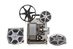 Vintage Films with Projector Isolated. Vintage film with old projector isolated with clipping path stock photography