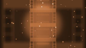 Vintage Filmstrip Animation. An animation where the camera tracks back to reveal three moving filmstrips with a flickering projector light in the background stock illustration