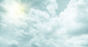 Vintage filter : Sun burst ray with cloudy and sky Royalty Free Stock Photo