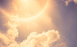 Vintage filter : Sun Halo with cloud and blue sky Royalty Free Stock Photo