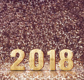 Vintage filter tone of happy new year 2018 3d rendering at spa. Rkling glitter background ,Holiday Greeting card,leave space for adding your content Stock Photo