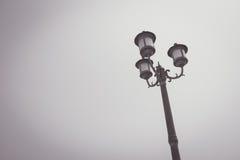 Vintage filter : vintage light post in Black and white color Stock Photo