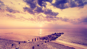 Vintage filtered beautiful purple sunset. Royalty Free Stock Photography