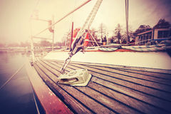 Vintage filtered close up picture of yacht rigging. Stock Photo