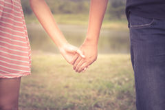Vintage filtered color of couple relationship. Stock Photography