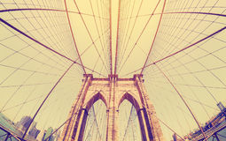 Vintage filtered fisheye picture of Brooklyn Bridge, NYC. Stock Photography