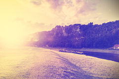 Vintage filtered nature background by sunset Stock Photos