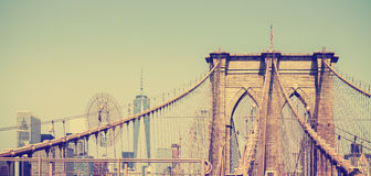 Vintage filtered panoramic picture of Brooklyn Bridge. Royalty Free Stock Images
