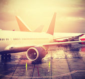 Vintage filtered picture of airport, transport and travel concep Royalty Free Stock Photos