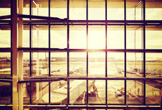 Vintage filtered picture of an airport. royalty free stock photography