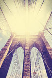 Vintage filtered picture of Brooklyn Bridge. Royalty Free Stock Image