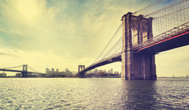 Vintage filtered picture of Brooklyn Bridge in New York City. Stock Image