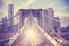 Vintage filtered picture of Brooklyn Bridge, NYC. Stock Photography