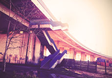 Vintage filtered picture of highway stairs and infrastructure Stock Photography