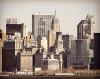 Vintage filtered picture of Manhattan over Hudson River, New Yor Stock Image