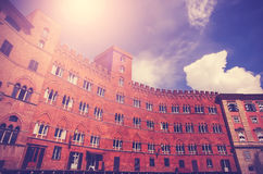 Vintage filtered picture of Piazza del Campo in Siena, Italy Stock Photography