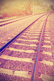 Vintage filtered picture of railroad tracks. Stock Photography