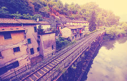 Vintage filtered picture of railroad in Tuscany Stock Photo