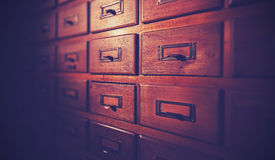 Vintage filtered wooden card catalog. Royalty Free Stock Image