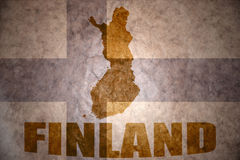 Vintage finland map. Finland map on a vintage finland flag background Royalty Free Stock Photography