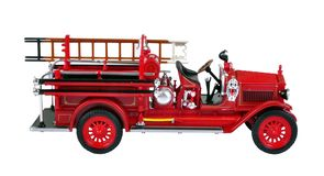Vintage Fire Engine. A vintage fire engine, isolated on a white background stock images