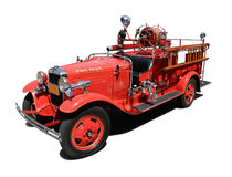 Vintage Fire Engine. Isolated on pure white background stock photo