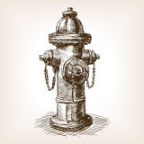 Vintage fire hydrant sketch vector illustration Stock Image