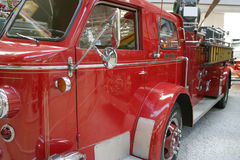 Vintage fire truck. Old american fire truck in a vehicle museum royalty free stock image